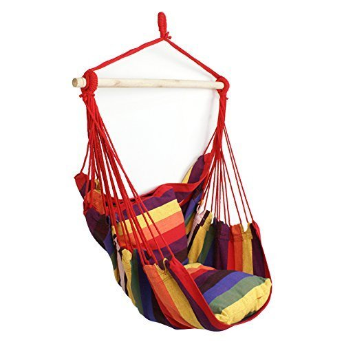 Super Deal Hammock Hanging Rope Chair Sky Air Hammock Swing Chair Porch Chair With 2 Seat Cushions Rainbow