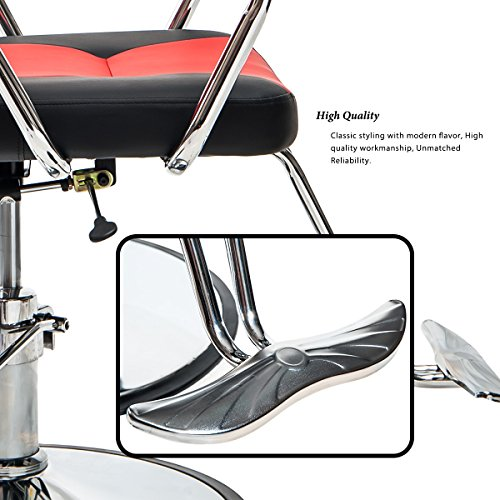 Merax Reclining Hydraulic Barber Chair Styling Salon Beauty Shampoo Spa Equipment (Black&Red) by Merax (Image #5)