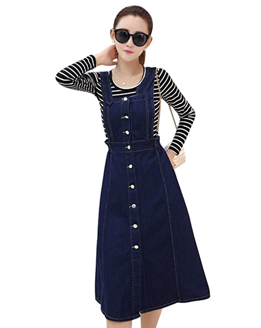 886645239b Drasawee Women's Midi Button Denim Suspender Skirt Pockets Jean Strap Overall  Dress Small