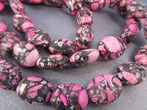Mosaic Fuchsia Magnesite Oval Beads ()