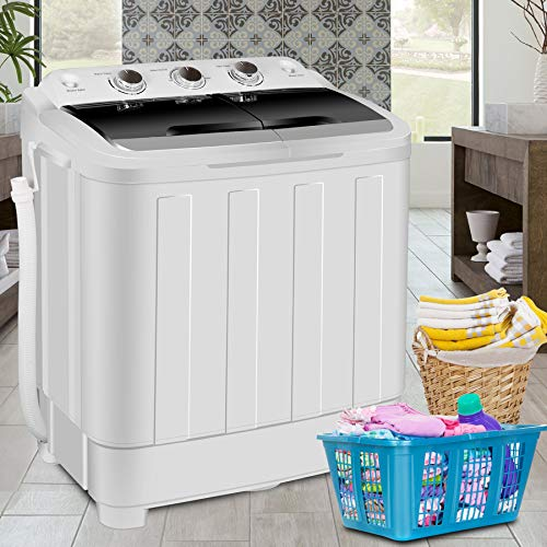 "SUPER DEAL Portable Washer Mini Twin Tub Washing Machine 17.6 lbs w/78.8"" Inlet Hose, Gravity Drain Pump, For Camping, Apartments, Dorms, College Rooms, RV's, Delicates and more"