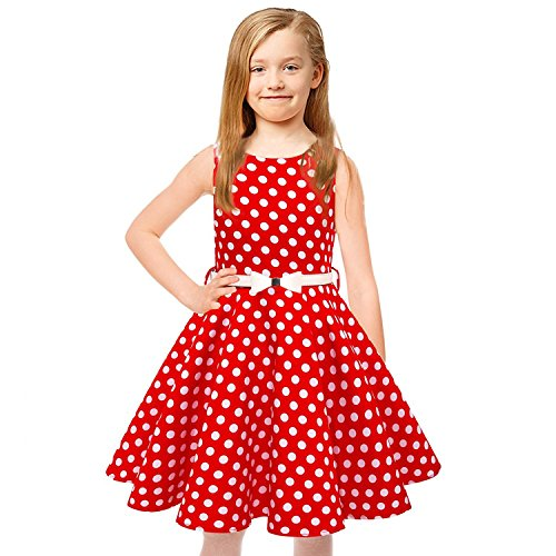 Tkiames Girls Vintage Polka Dot Easter Sleeveless Casual Swing Party Dress With Belt (6T(6-7 Years), Red) - Girls Polka Dot Clothing