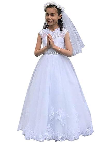 Gzcdress Vestido De Comunión Blanco Para Niñas 7 16 Princesa