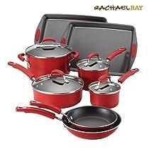 Rachael Ray Enamel Porcelain II Nonstick 12 Piece Cookware Set, Red Gradient & Free Premium Stainless Steel Locking Tongs