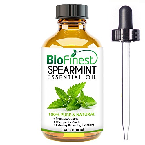 BioFinest Spearmint Oil – 100% Pure Spearmint Essential Oil – Premium Organic – Therapeutic Grade – Best For Aromatherapy – Boost Digestion – Muscle Soothing – FREE E-Book and Dropper (100ml ) – Digestion Review