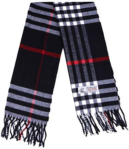 Plaid Cashmere Feel Classic Soft Luxurious Winter Scarf For Men Women (Big Plaid Black)