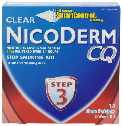 NicoDerm CQ Step 3 Clear Patch, 7 mg, 2-Week Kit (14 patches) by Nicoderm BEAUTY