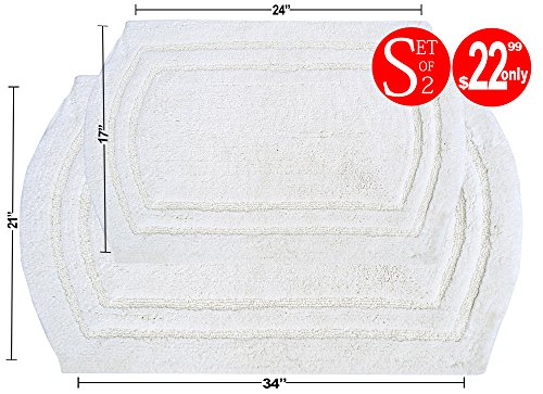 Value Homezz ( 2 Piece Bathmat Set ) Arena 100% Cotton Tufted Accent Bath Rugs Size 21 x 34 / 17 x 24 Non Skid High Absorbency & Durable Machine (Chenille Accent Rug)