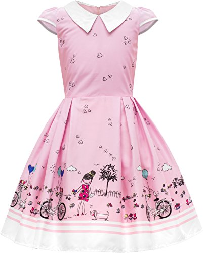 BlackButterfly Kids 'Olivia' Vintage Sunshine 50's Children's Girls Dress (Pink, 7-8 YRS)]()
