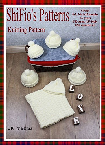 (Knitting Pattern - KP163 - Baby Aran Hat & Blanket Afghan - 0–3mths, 3-6mths, 6-12mths, 1–2yrs - UK)