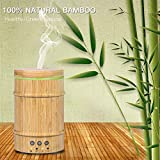 EECOO Real Bamboo Aromatherapy Essential Oil Diffuser, 150ml Ultrasonic Humidifier with Adjustable Mist Modes, Waterless Auto Shut-Off 7 Color LED Night Lights for Home Office Yoga Spa Baby Room