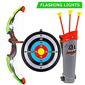 51AlmgnOlCL. SS300  - Toysery Bow and Arrow for Kids with LED Flash Lights - Archery Bow with 6 Suction Cups Arrows, Target, and Quiver…