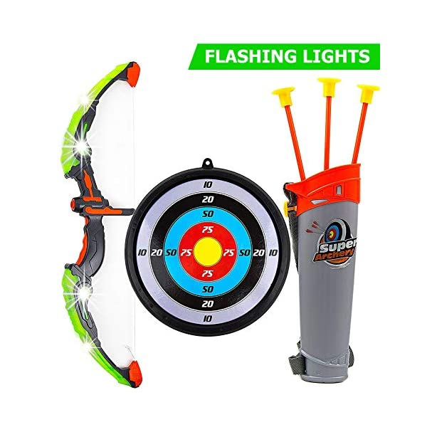 51AlmgnOlCL. SS600  - Toysery Bow and Arrow for Kids with LED Flash Lights - Archery Bow with 6 Suction Cups Arrows, Target, and Quiver…