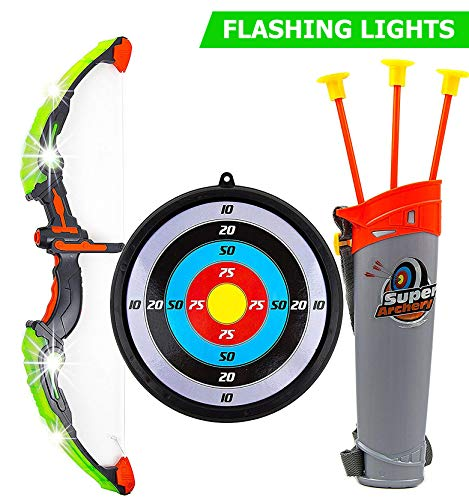 Toysery Bow and Arrow for Kids with LED Flash Lights - 13-inch Archery Bow with 3 Suction Cups Arrows, Target, and Quiver - Practice Outdoor Toys for Children Above 3 Years of Age]()