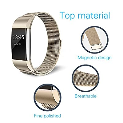 """Fitbit Charge 2 Bands,Edow (2 pack) Metal Milanese Stainless Steel Replacement Wristband Strap Bracelet with Magnetic Clasp (6.3""""-9.8"""") for Fitbit Charge 2,Rose Gold,Rose Pink,Champagne,Silver,Black."""