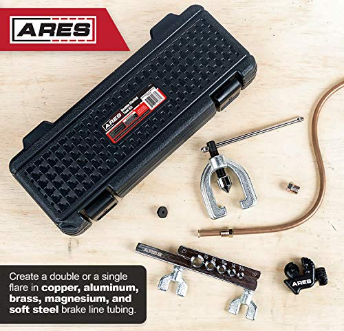 ARES 70212   Herramienta de doble abrazadera para cobre, aluminio, línea de freno de acero suave y tubo de latón, incluye mini cortador de tubos y estuche de almacenamiento