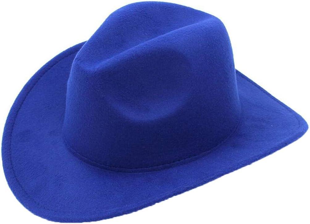 Mens Faux Felt Western Cowboy Hat Outdoor Classic Wide Brim Fedora Cattlemen Hat