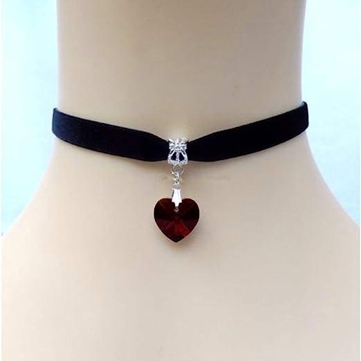 black HuntGold 1X Lady Girls Velvet Choker Necklace Retro Handmade Love Heart Crystal Pendant