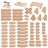 Orbrium Toys 68 Pcs Premium Wooden Train Track Expansion Pack