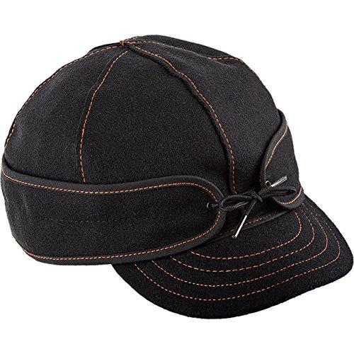(Stormy Kromer The Original Benchwarmer Cap, Black/Orange, Size: 7 1/4 (50450-000072-260-C0L))