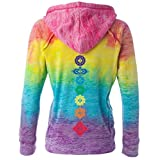Yoga Clothing For You Ladies Floral Chakras Burnout V Hoodie
