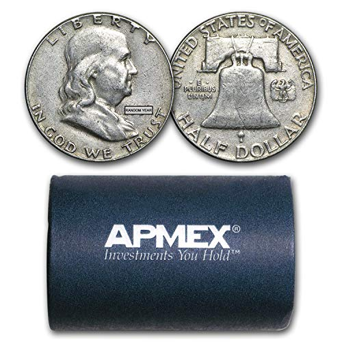 1948-1963 90% Silver Franklin Halves $10 20-Coin Roll Avg Circ Silver Very Good