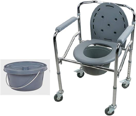 Chaise Percee Pliante Chaise De Toilette A Roulettes Portable Reglable En Hauteur Chaise De Douche En Aluminium 500 Lbs Amazon Fr Cuisine Maison
