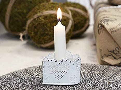 Chic Antique Kerzenleuchter antik weiß Kammer leuchter Kerzenhalter Shabby