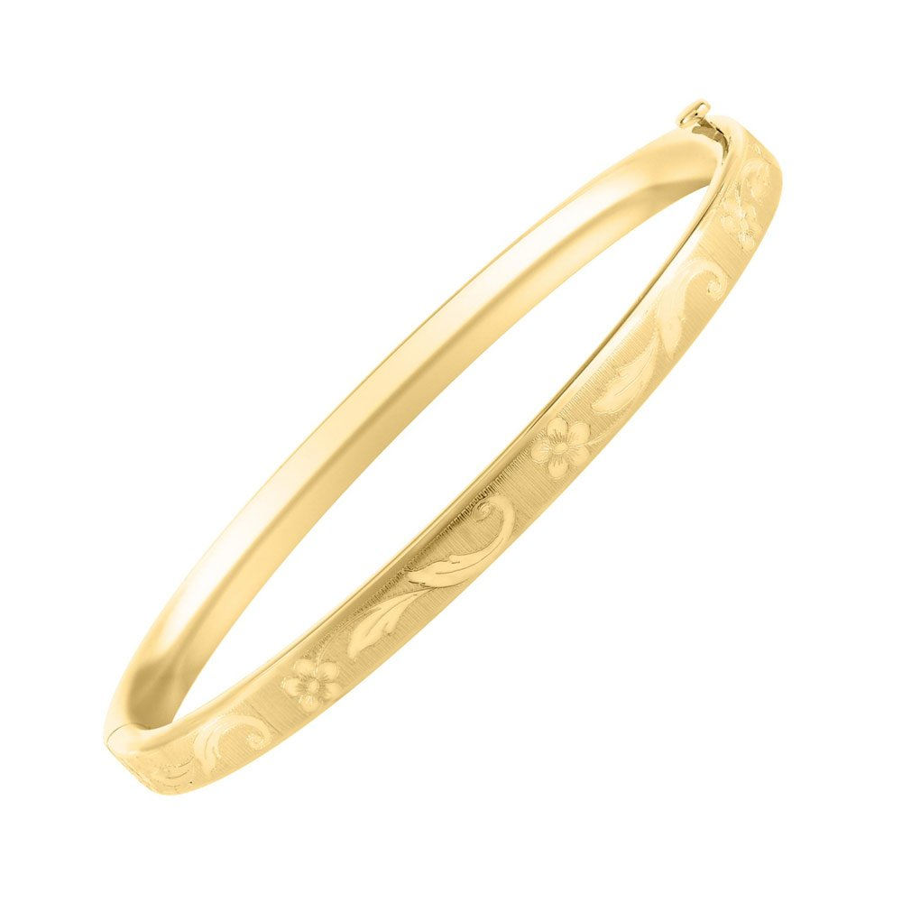 Baby Girl Jewelry - 4 1/2 inches 14K Yellow Gold Floral Inlay Bangle