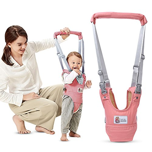 Kidsidol Baby Walker Harness Stand Up Walking Learning Assistant Adjustable Toddler Kids Walking Safety Belt Dual Use Suitable for 8-24 Months Infant Baby (Pink)