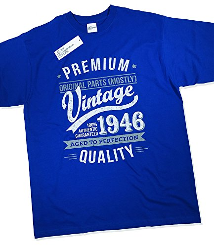 1946 Vintage Year - Aged to Perfection - 70th Birthday Gift / Present T-Shirt Mens Royal Blue XL