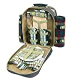Luxuriser-Picknickrucksack-fr-4-Personen-mit-Picknickdecke-aus-Fleece-und-Geschirr-aus-Metall-und-Flaschenkhler-von-noTrash2003