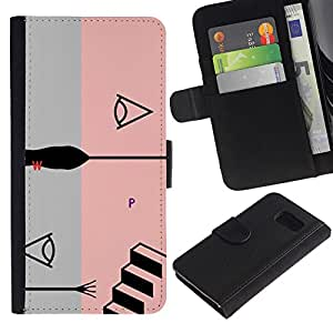 iBinBang / Flip Funda de Cuero Case Cover - Pink Abstract Grey Stairs Grey Black - Samsung Galaxy S6 SM-G920