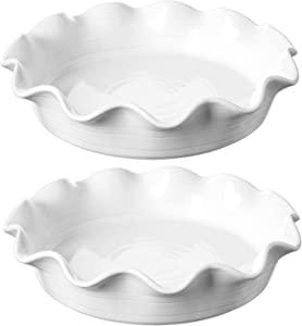 LE TAUCI Ceramic Pie Pans for Baking, 11 Inches Deep Dish Pie Plate for Apple Pie, Pot Pie, 46 Ounce Baking Dish with Ruffled Edge, Set of 2, White