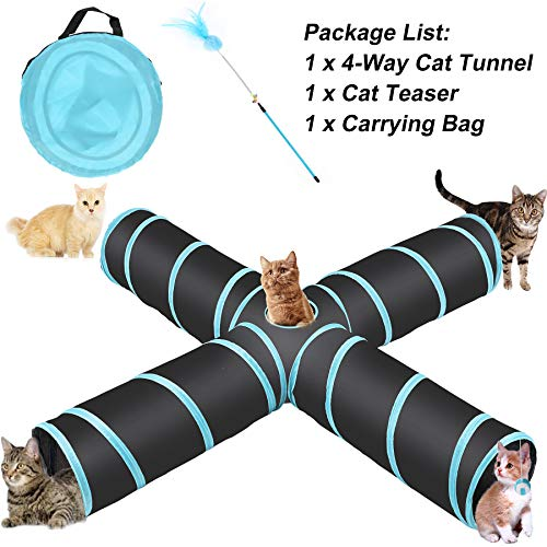 CO-Z 4 Way Collapsible Cat Tunnel, Roomy & Tear Resistant Crinkle Cat Toy Tube with Cat Teaser, Storage Bag & Dangling Toys, for Cat, Puppy, Kitty, Kitten, Rabbit, Dogs, Indoor/Outdoor Use