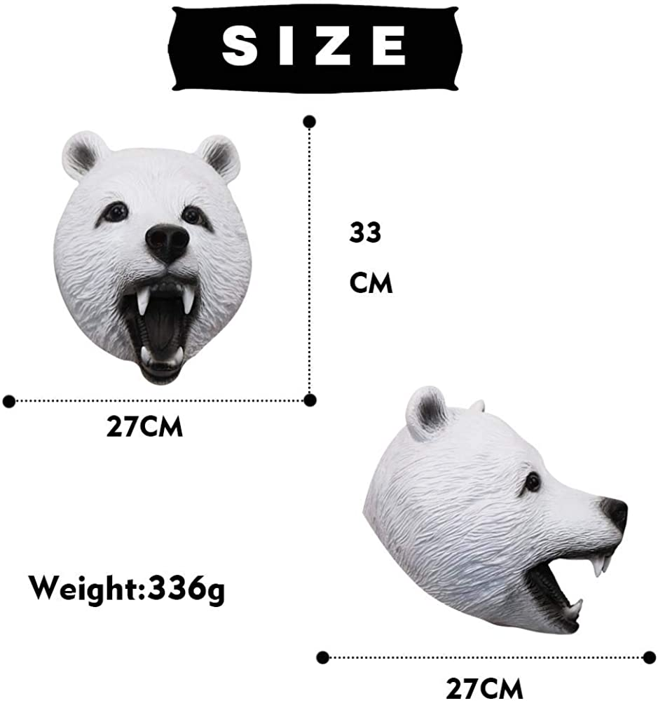 Wild Bear Animal Mask Latex Full Head Mask for Halloween Costume Party Cosplay