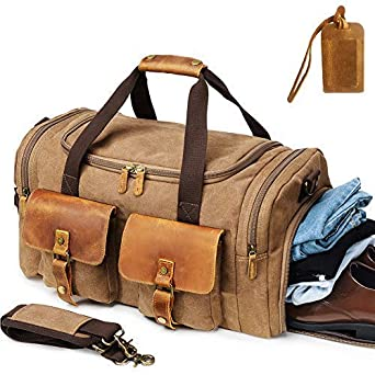 Kemy s Canvas Duffle Bag for Mens Oversized Overnight Bags Weekend Duffel  Weekender Travel Bags Leather Doufle fce0115e9c549