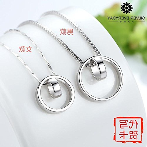 Generic men's _Hot 925 sterling Silver necklace Pendant Korea women girl necklace Pendant clavicle couple necklace Pendant ring _one_pair Valentine's Day birthday by Generic