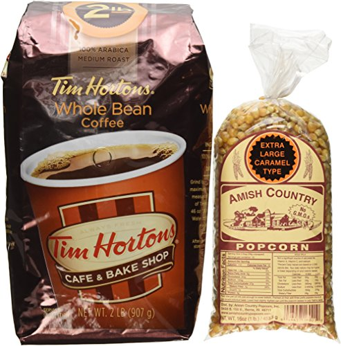 Tim Horton's Whole Bean Coffee Medium Roast 100% Arabica 2 Pound Bag, This Includes a Free 1 Pound Bag of Amish Country Popcorn.