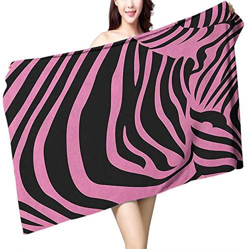 (homecoco Printed Bath Towel Pink Zebra Vibrant Background Zebra Skin Artistic Avant Garde Tribal Punk Indie Wild W28 xL55 Suitable for bathrooms, Beaches,)