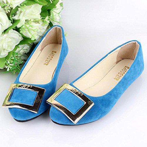 moda pelle pigro amp; sky mocassini blue da carriera ginnastica donna casual Scarpe LvYuan scarpe camminate CN40 scamosciata piatto ufficio casual comodità amp; scarpe tacco da tw7xRA