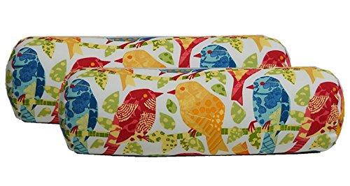 Garden Neckroll - Set of 2 - Indoor / Outdoor Jumbo, Large, Over–sized, Bolster / Neckroll / Lumbar Chaise Lounge Decorative Pillows - White, Red, Yellow, Blue Ash Hill Garden Birds