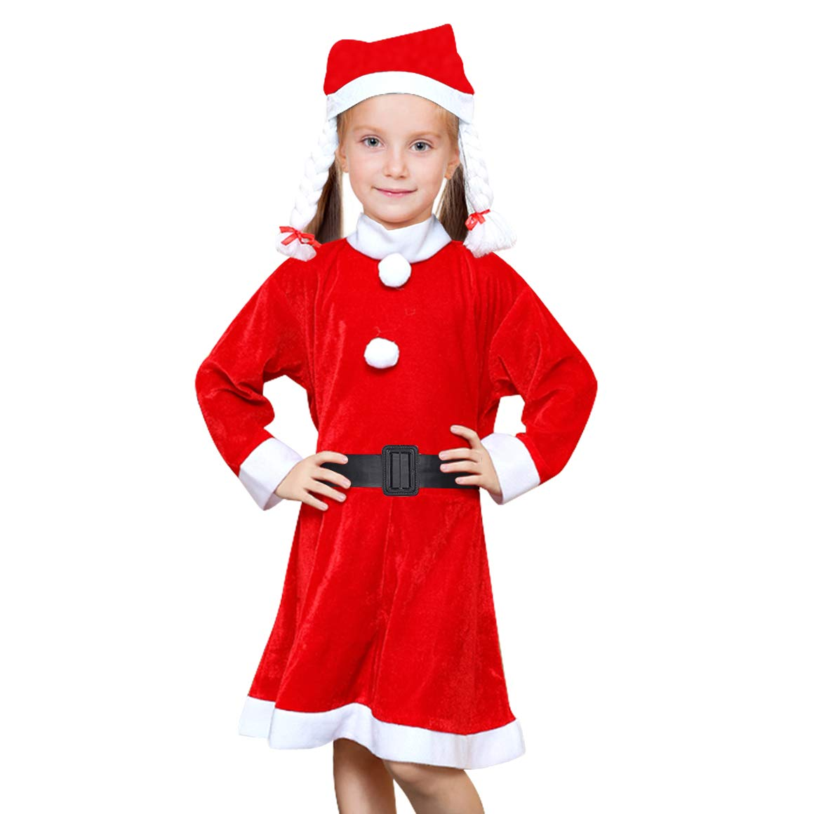 Child Santa Suit Kids Velvet Christmas Costumes with Santa Hat Santa Claus Costume Outfits for Boys Girls