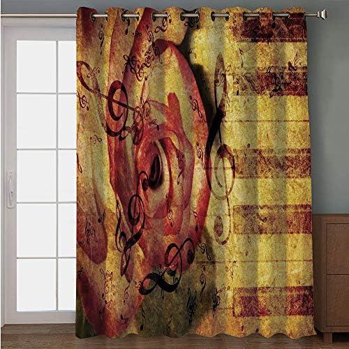 iPrint cortina para puerta de patio, color marrón, diseño rústico ...