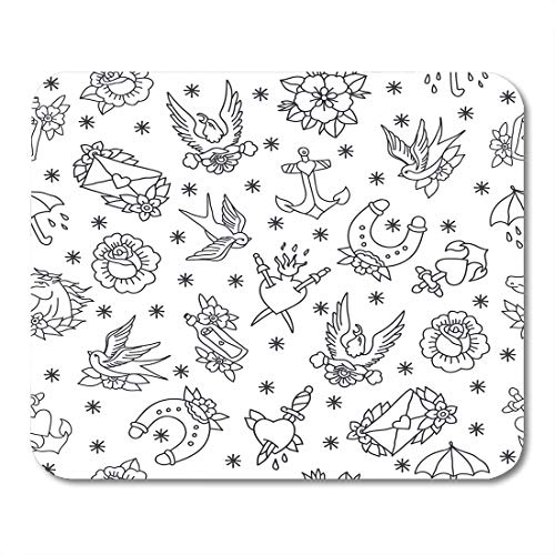 Sailor Heart Tattoo (Emvency Mouse Pads Sailor Doodle Pattern Traditional Tattoo Flash Ink Heart Dagger Sketch Mouse pad 9.5