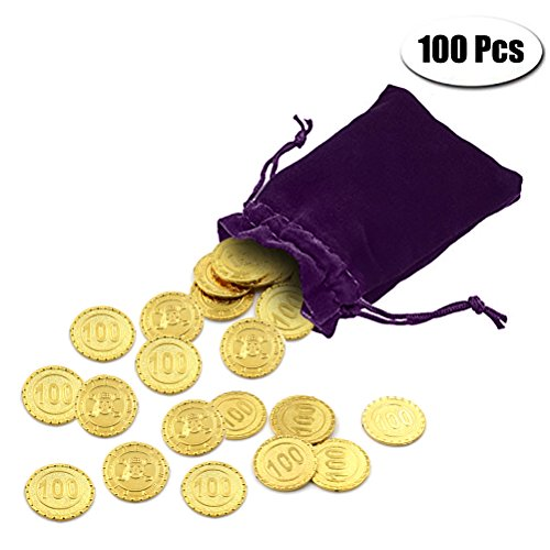 PartyYeah 100 Pcs Plastic Fake Gold Coins & 1 Pc Purple Drawstring Storage Bag for Kids Hunt Play Party Favors (Dark Gold, Coins+Drawstring Bag)]()