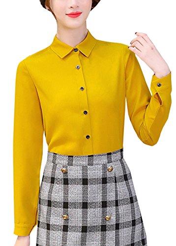 Tee Revers Casual et Longues Chemisiers Chemises Shirts Automne Blouses Slim Tops Jaune Femmes Printemps Gingembre New Manches Hauts fAqPBEqw