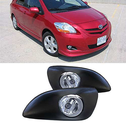 VIOJI New 1 Pair For Toyota 2007-2011 Yaris Base/S 4Dr/4-Door Sedan Clear Lens Front Bumper Driving Lamp Fog Lights w/ H11 Bulbs+Switch+Relay+Wire+Hardware ()