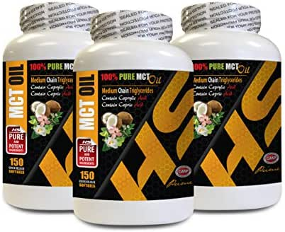 Cholesterol lowering Products - 100% Pure - MCT Oil (Medium Chain TRIGLYCERIDES) - mct Oil Brain and Body Full - 3 Bottles 450 Softgels