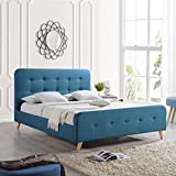 Great Deal Furniture | Baron | Mid Century Queen Platform Bed Frame | in Blue